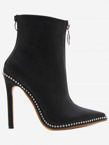 حذاء مزين بقطع معدنية ذو كعب رفيع مدبب من الأمام  - أسود 38
