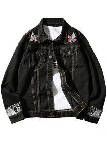 Chest Pocket Eagle Embroidery Denim Souvenir Jacket - Preto L