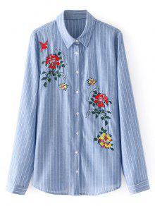 Camisa Listrada Bordada Floral Com Botão Para Baixo - Listras S