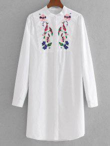 Camisa Listrada Bordada Floral De Palangre - Branco S