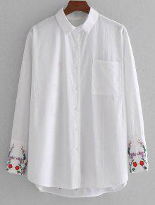Camisa Bordada Com Bordados Florais Com Bolso - Branco L