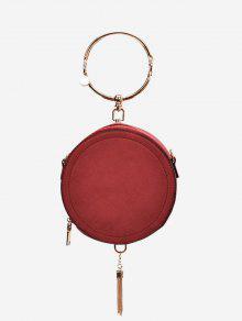 حقيبة يد بمقبض على شكل حلقة معدية مزينة بشرابة - أحمر