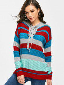Camisola Pullover Lace Up Stripes - Listras