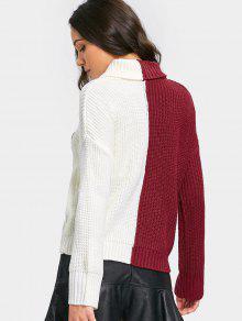 Letter Applique Color Block Turtleneck Sweater BURGUNDY: Sweaters ...