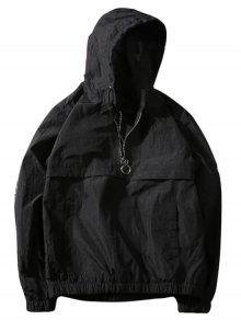 جاكيت مع غطاء الرأس بنصف السحاب - أسود 2xl