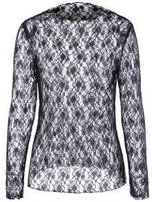 Blusa De Renda Floral Transparente - Preto Xl
