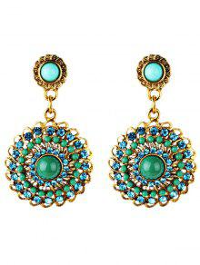 Pendientes De Estilo Boho Con Adornos Florales En Imitación De Diamantes De Imitación - Verde