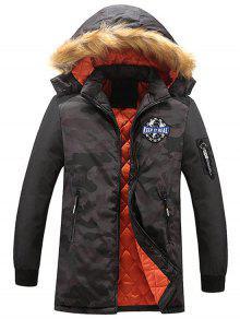 Zipper Camo Hoodie Coat Coat Coat Bordado - Cinza Escuro Xl