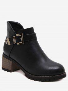 حذاء الكاحل بكعب مكدس مزين بإبزيم ذو سحاب جانبي - أسود 36