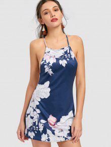 Mini-robe à Fines Bretelles Et à Fleurs - Floral S