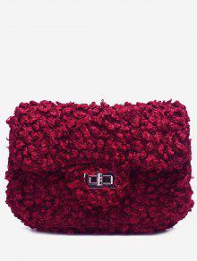 غلق بمشبك فو الفراء سلسلة حقيبة كروسبودي - أحمر