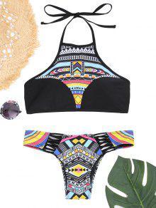 Conjunto De Bikini Con Estampado De Patchwork Halter - Negro M