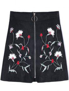 Buy Zippered Floral Embroidered A-line Skirt - BLACK XL