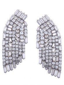 Sparkly Rhinestoned Angel Wings Earrings - Branco