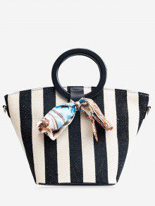 اللون كتلة وشاح مخطط حمل حقيبة - أسود