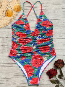 الجبهة روتشد عالية قطع الزهور ملابس السباحة - الأزهار L