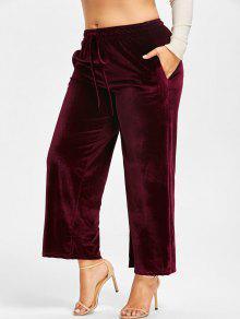 زائد حجم مرونة الخصر المخملية السراويل الساق واسعة - نبيذ أحمر 5xl