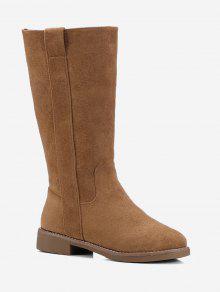 كعب منخفض من جلد الغزال زلة على منتصف العجل الأحذية - الأصفر 36