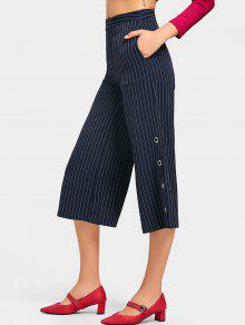 hohe taille striped wide leg capri hose schwarzblau hosen. Black Bedroom Furniture Sets. Home Design Ideas