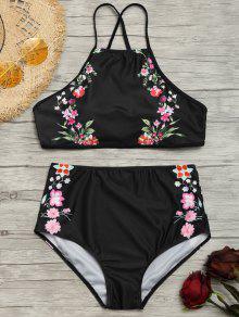 Buy Tiny Floral High Neck Waisted Bikini - BLACK L