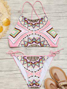 Bikini à Encolure Montante à Motif Géométrique - M