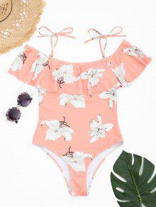الأزهار الكشكشة قطع عالية ملابس السباحة - الضحلة الوردي L