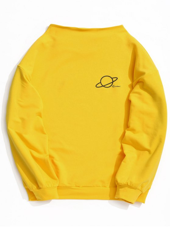 online Mock Neck Global Graphic Tunic Sweatshirt - YELLOW ONE SIZE