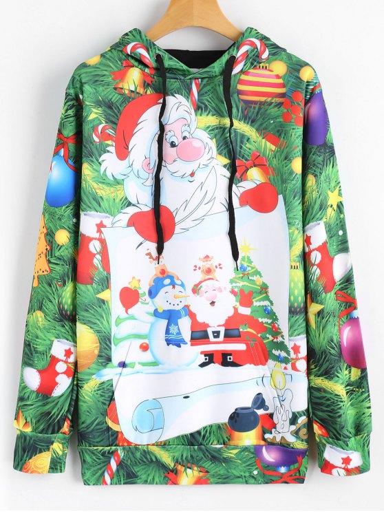 Hoodie da árvore de Natal dos doces do Drawstring Moletom Com Capuz - Verde 2XL