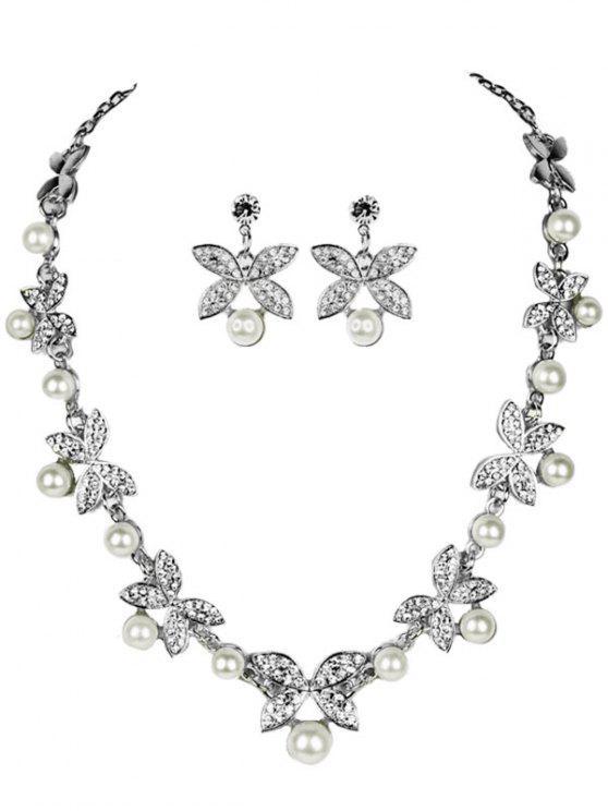 Rhinestone Faux Pearl Butterfly Wedding Jewelry Set SILVER