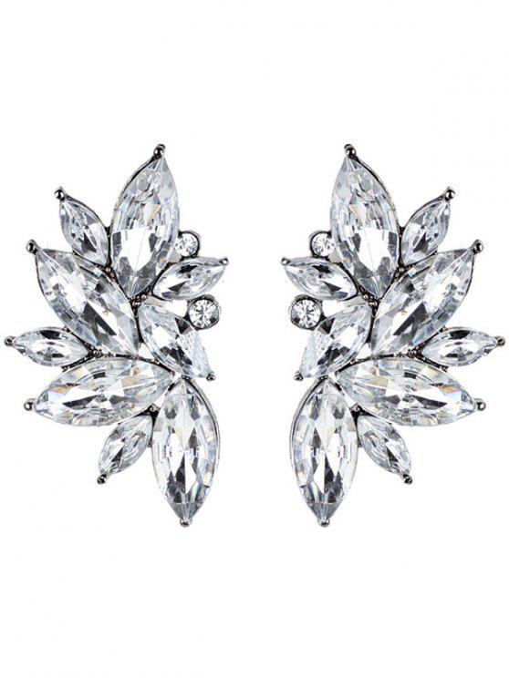 latest Rhinestone Faux Crystal Statement Earrings - WHITE