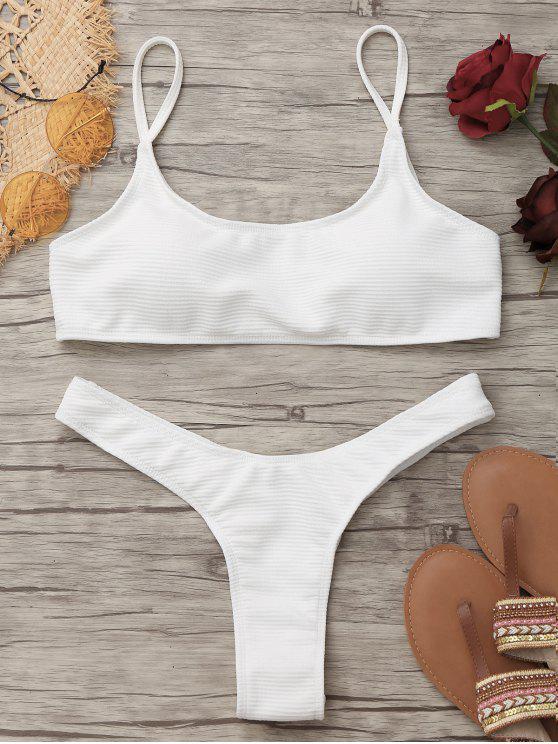 womens High Cut Thong Bikini - WHITE L
