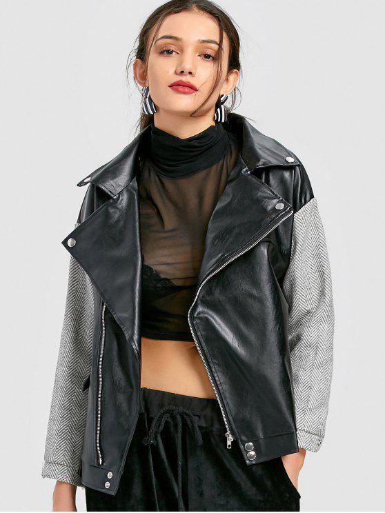 trendy Tweed Panel Faux Leather Biker Jacket - BLACK M