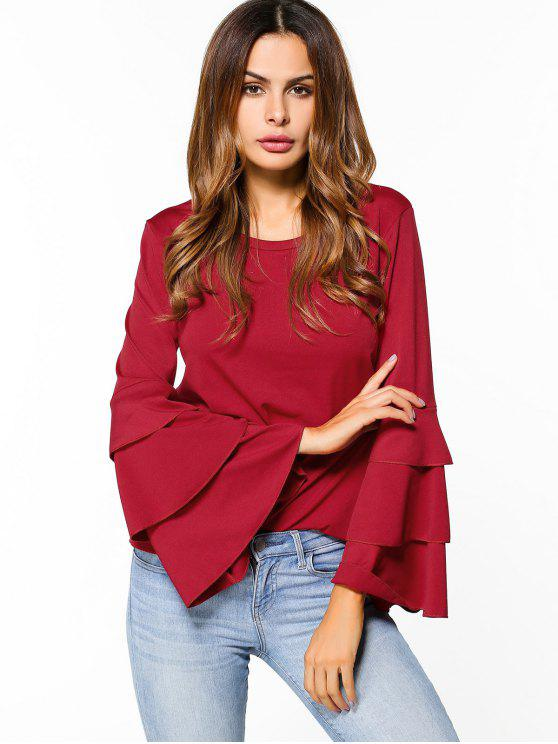 unique Layered Flare Sleeve Top - RED 2XL