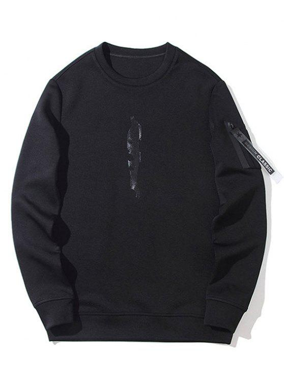 Utility Pocket Crew Neck Sweatshirt BLACK: Hoodies & Sweatshirts ...