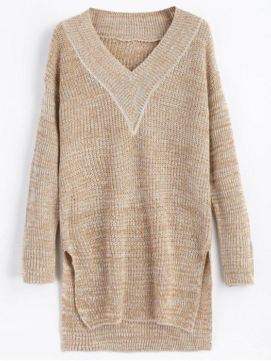 Slit High Low V Neck Drop Shoulder Sweater LIGHT BROWN: Sweaters S ...