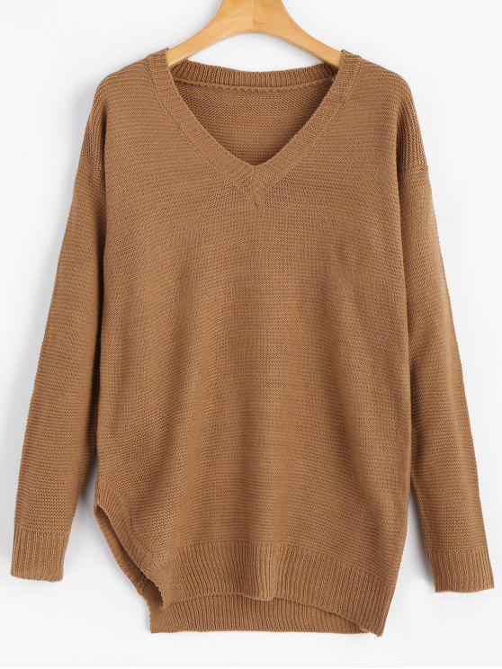V Neck Drop Shoulder Side Slit Sweater BROWN: Sweaters L | ZAFUL