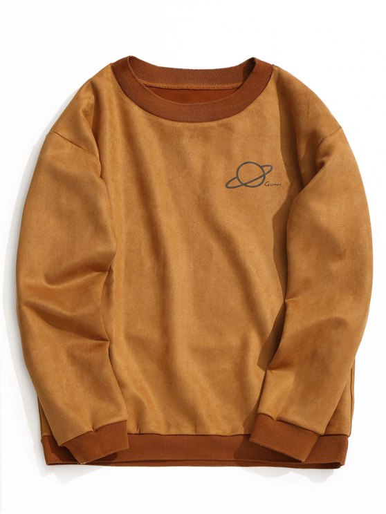 trendy Crew Neck Graphic Suede Sweatshirt - BROWN L
