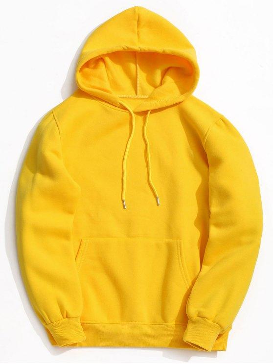 2019 pocket fleece hoodie in yellow s zaful