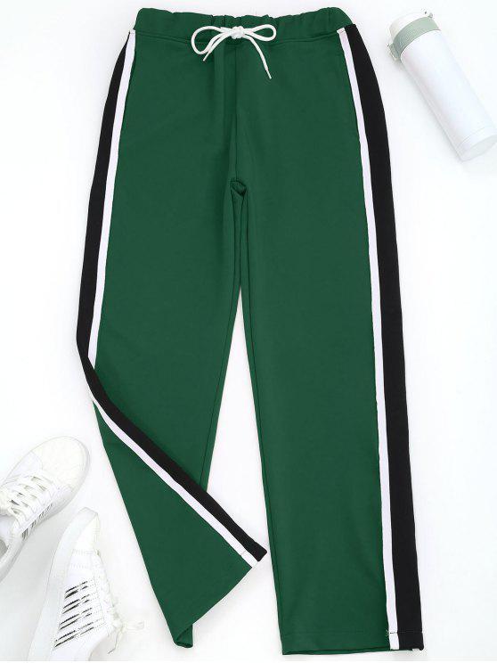 Slit Wide Leg Striped Sporty Pants - Verde S