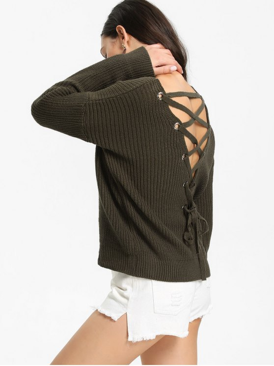 sale Back Lace Up V Neck Pullover Sweater - ARMY GREEN ONE SIZE