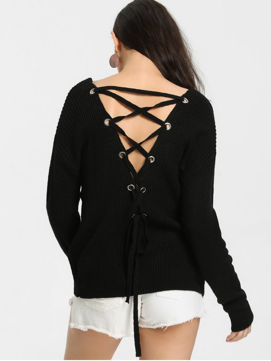 affordable Back Lace Up V Neck Pullover Sweater - BLACK ONE SIZE
