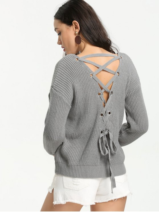 buy Back Lace Up V Neck Pullover Sweater - GRAY ONE SIZE