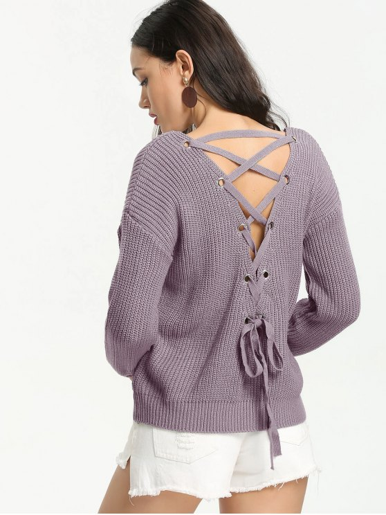 outfit Back Lace Up V Neck Pullover Sweater - SMASHING ONE SIZE