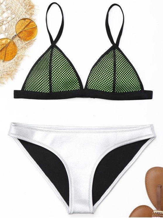 online Fishnet Overlay Neoprene Bikini Set - SILVER L