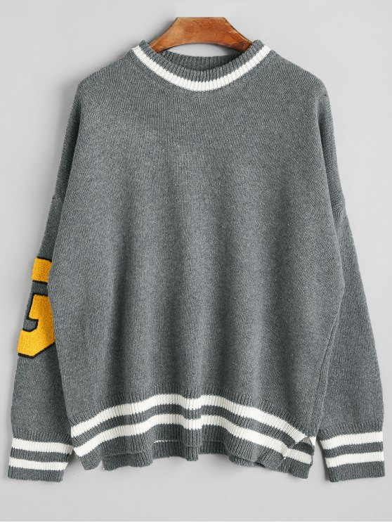 new Striped Graphic G Patch Sweater - GRAY ONE SIZE