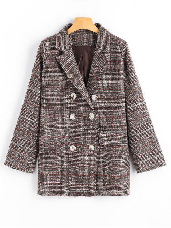 trendy Double Breasted Checked Lapel Blazer with Pockets - CHECKED L