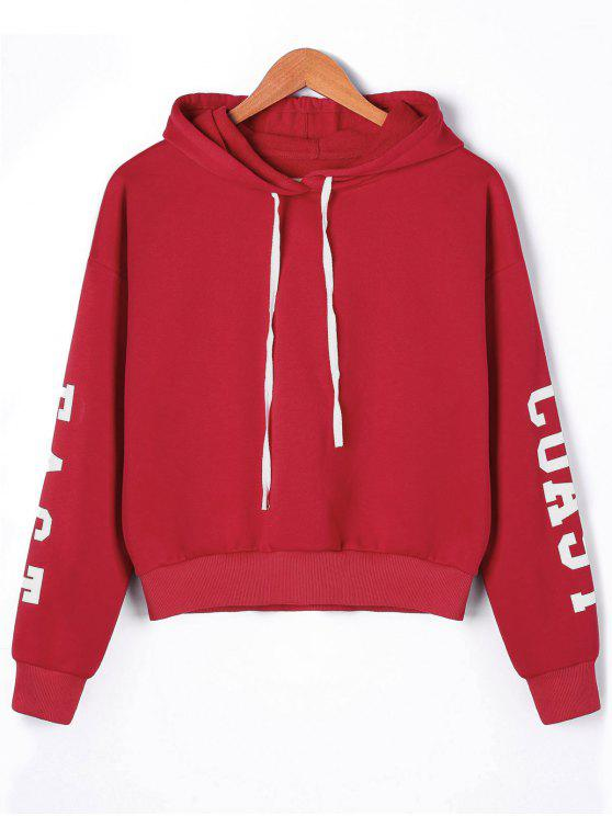 womens Pullover Letters Drop Shoulder Hoodie - RED XL