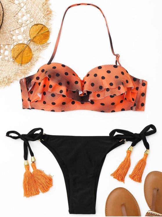 women Tassel Polka Dot Underwire Bikini Set - ORANGE S