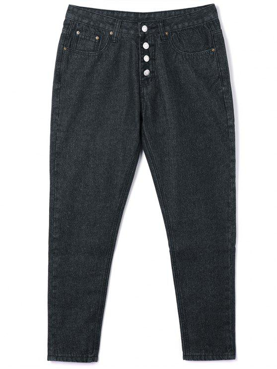 fancy Button Closure Tube Jeans - BLACK S