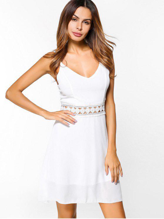 Vestido de chifón crochet insertar camisola - Blanco L